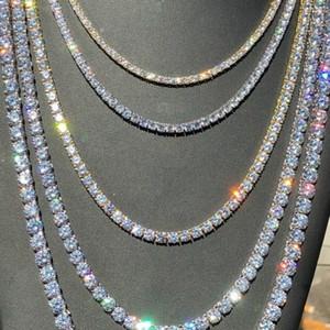 Splendida Donna Uomo Oro Argento Tennis Chain dei diamanti Icy Hip Hop Girocollo catena monili della collana di Bling