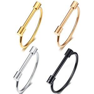 Marque D Bangle femmes fille Bracelets en fer à cheval titane acier vide plaqué or Bracelets D Mot Horseshoe Bouche Mesdames Bracelet