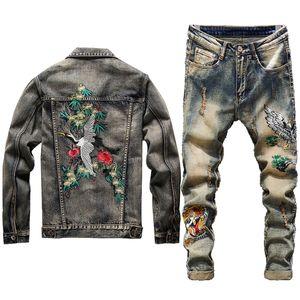 Nuovi uomini giacca di jeans set di moda autunno ricamo Gru coronata rosso del vestito Vest + Embroidered Tiger-testa jeans da uomo che coprono gli insiemi 2 pezzi