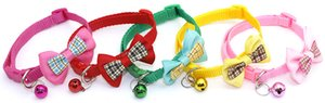 New 1pc Candy Color Adjustable Bow Tie Bell Bowknot Sale Collar Necktie Puppy Kitten Dog Cat Pet Freeshipping
