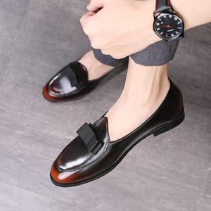 Nouveau design Gradine couleur Chaussures formelles Slip-on cuir Mocassins hommes bout pointu de soirée de mariage Casual Shoes Robe Loisirs