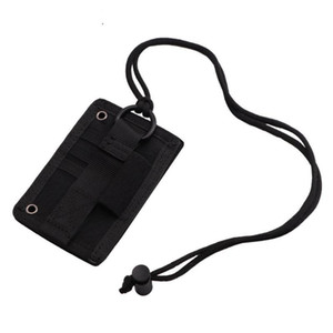 Portable Size Tactical ID Card Holder Hook Loop Patch Badge Holder Neck Lanyard Key Ring Organizer Outdoor Bag