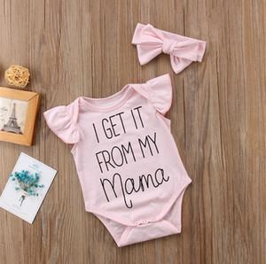 Sommer-Kleidung Baby Body Jumpsuits Coveralls Baby Body-Rosa-Bogen-Stirnband-Zweiteiler-Kleidung Kinder Bodysuit für Kinder E3302
