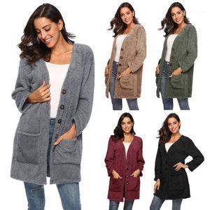 Cardigan Sweater Solid Color V Neck Single Breasted Spring Autumn Fashion Famale Designer Coat Womens Plush Warm