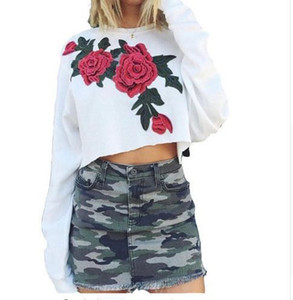 Pop2019 Flower Embroidery Autumn Round Neck Long Sleeve Sweater Woman