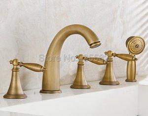 Antique Brass verbreitet 5 Löcher Badezimmer römische Wanne-Hahn-Mischer-Hahn-Satz mit Handbrause Ltf035