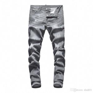2019 SS Hip-Hop Men's Wear Light Blue Hole Jeans Hole Zipper Fashion Denim Men's Decoration Hole Jeans Men's Pants DN38