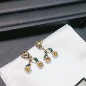 Leopard perla testa orecchini con strass di personalità della signora di modo di alta qualità Orecchini di rame di lusso Veloce Consegna