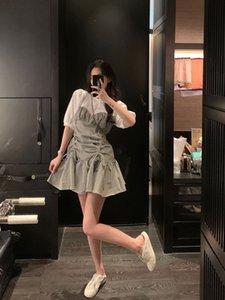 Qiu A- Linie Ruiyao SIXONE 61 2020 Plaid Blase Hülse Kleid des Sommers der Frauen dünne Bauch A- Linie Kleid