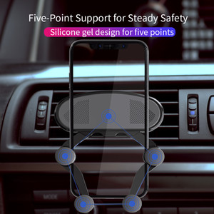 Gravity Lock Car Holders In Car Air Vent Clip Dashboard Mounts No Magnetic Mobile Phone Holder Cell Stand Support Bracket For iPhone Samsung