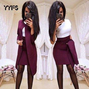 New Sexy Formal Dress Suits Women Long Blazer Jacket+Sheath O-Neck Mini Dress office wear 2 Piece Female Sets trajes de mujer T200707
