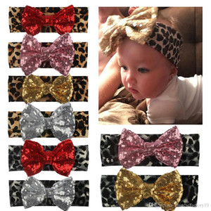 Fotografia de New Bebés Meninas Leopard Headbands Sequins Bow Criança Hairband bowknot grande Boutique 2019 Fashion Designer Headbands