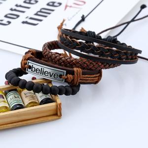 Письмо верят мужской браслет кожаный костюм Европейский и американский ретро тканый DIY кожаный браслет партия маленький подарок XD22877