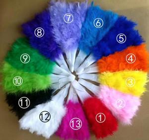 Abanicos de plumas de colores Wedding Showgirl Dance Plegable Hand Feather Fan (Accesorios para novias
