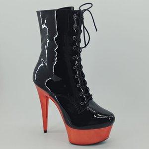 Leecabe 15CM / plataforma de 6 pulgadas de color rojo con negro Shinny superior plataforma de tacón alto del dedo del pie Botas cerrado arranque Pole Dance