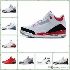 Nike Air Jordan Original AJ AJ3 2019 Pure White aj 3 3s Mans tênis de basquete baratos Tinker Katrina JTH Linell Chicago OG Royal Black Vermelho Azul CeMant Sapatilhas