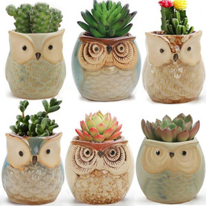 Cute Mini Ceramic Decorative Owl Flower Pots Planters Retro Creative Succulents Nursery Floral Holder Organizer Garden Supplies 6 style
