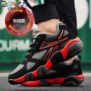 Calçados Masculinos Inverno casuais sapatos de couro masculino adulto preto Mantenha Designer Quente Sneakers Homens antideslizantes Walking Shoes Moda Footwear