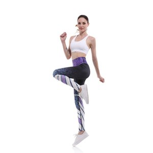 2020 New Femme Printing Striped Leggings Women's Fitness Yoga Compression Pants Nine-point Sportswear Gym Running Tights Women