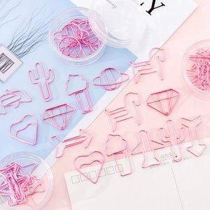en forma de especial 8pcs / Caja Ins muchachas rosadas metal Papel aguja Conjunto Hueco-hacia fuera los clips de papel Marcadores Clamp Estudiante DIY hecho a mano Cuenta de accesorios