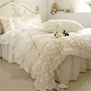 Neue Stickerei-Bettwäsche-Satz beige Spitze Kuchen Schichten Rüschen Bettbezug Qualität Stoff Bettlaken Bedspread Elegant Bed Rock