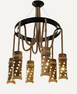 Loft Style Creative Rope Bamboo Tube Vintage LED Lámparas colgantes Accesorios para el hogar Comedor Lámpara colgante Suspensión Luminaria LLFA