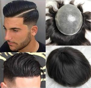 Volle dünne Haut Toupets Männer Perücke Brazilain Jungfrau Remy Menschenhaar-Männer Toupet Hair Replacement Gerade Toupet für Männer geben Verschiffen