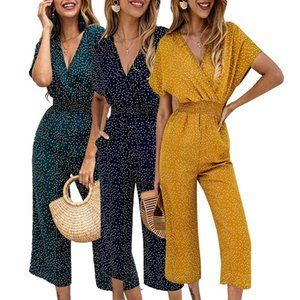 Summer New Jumpsuits Wave Point One-piece Pants V-neck High Waist Wide Leg Women Short Sleeve Bodysuits Casual Rompers 2020