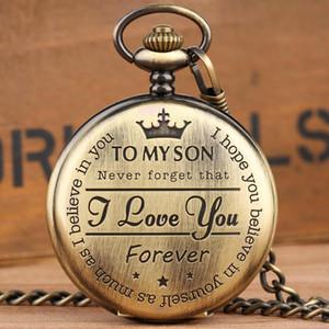 Quartz Roman Padrão Relógio de bolso personalizado Steampunk retro numerais relógio de bolso para o meu filho Meninos Gift Box Xmas
