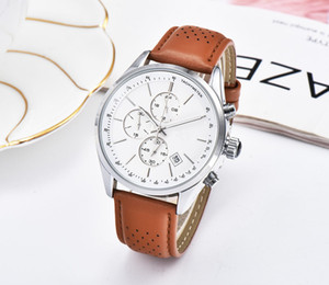 Fashion Brand Boss Men's Watch 2019 New Simple Three Small Plate Multifunction Chrono Leather Strap Date Display Business Watch