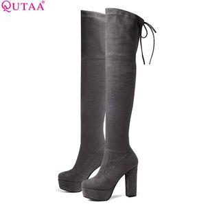QUTAA 2020 donne sopra il ginocchio alto stivali sexy eleganti scarpe invernali Piazza tacco alto punta rotonda della piattaforma delle donne Stivali Size 34-43