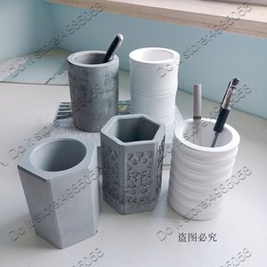 Rodada Pen Container Titular Plaster Mould Hexagonal Succulent Flower Pot concreto moldes de silicone Big Size T191016 Mold Cimento argila