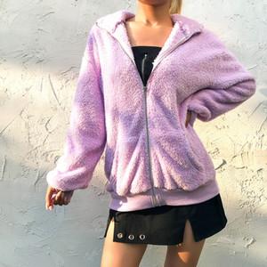 2020 Brasão Mulheres Brasão com o Pocket Zipper Moda com capuz de pelúcia Tops Jacket Casual Exteriores Top manga comprida senhoras casacos e jaquetas