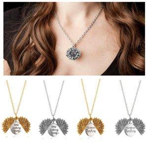 STOCK Sunflower Halskette Valentine Geschenk GoldLocket Can Open-Anhänger-Halskette Sie sind mein Sonnenschein Gravierte Claviclekette für Frau Geschenk
