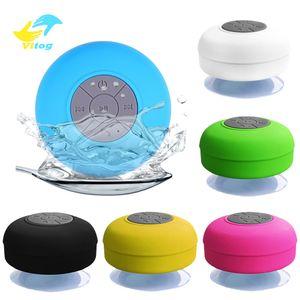 Vitog Mini sans fil Bluetooth Haut-parleur stéréo loundspeaker Kit mains libres portable étanche pour salle de bain Piscine voiture Plage Douche d'extérieur haut-parleurs