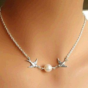 NEW Schwalben-Vogel-Paar Perlen Anhänger Charm Gold Silber Halskette Kette Schmuck