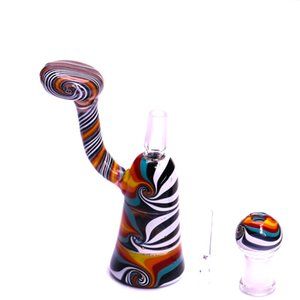 "3.9"" Mini Oil Rig Colorful Stripe Drum Rig Super Cute Water Pipe A Set Dab Rig With Dome And Nail"