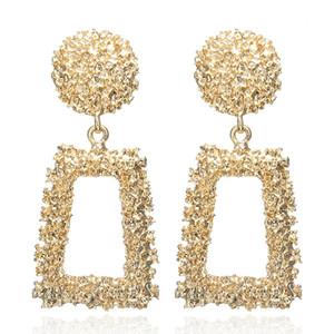 Big Vintage boucles d'oreilles pour les femmes couleur or géométrique déclaration boucle d'oreille 2019 métal boucle d'oreille pendaison mode bijoux tendance