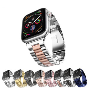 44mm 40mm 38mm 42mm Pulsera deportiva de metal de moda Correa de acero inoxidable para iWatch Series 4 3 2 1 Bandas de reloj Apple Watch Band