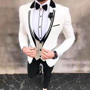 Neueste White Anzüge für Hochzeit Smoking Bräutigam tragen schwarze spitzen Revers Groomsmen Outfit Man Blazers 3Piece trajes de hombre Kostüm Homme