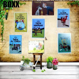 Tintin Cartoon Movie Targa piastra metallica Ferro Pittura Kids Room parete Bar Ktv Coffee Home Art Decor 30x20cm