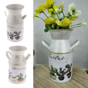 2Pics Size M&S Farmhouse Style Metal Flower Painting FlowerVase Flower Pitcher for Porch Patio Deck Plants Dispaly