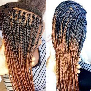 Parrucca anteriore in pizzo sintetico Radici scure Ombre Bionde Micro parrucche intrecciate con capelli del bambino Resistente al calore Box in fibra di treccia Parrucche per donne nere
