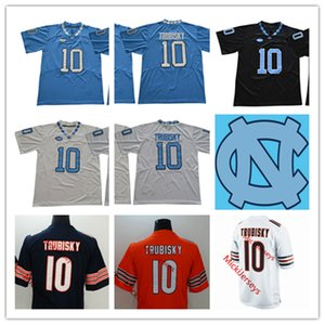 Mens NCAA North Carolina Tar Heels Mitchell Trubisky Американский футбол Джерси прошитой # 10 Mitchell Trubisky Чикаго Джерси S-3XL