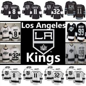 Uomo Los Angeles Kings Jersey 99 Wayne Gretzky 11 Anze Kopitar 8 Drew Doughty 32 Jonathan Quick ricamo Logos Hockey maglie