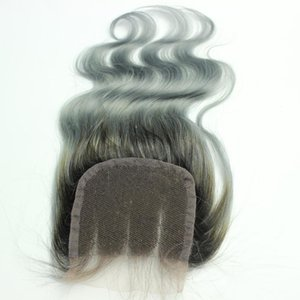 """4x4 """"Grey Wet and Wavy Brazilian Hair Body Wave Closure 10"""" -20 """" Free Middle 3 Part Ombre Lace Closure Human Hair"""