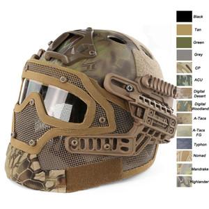 Açık Spor Airsoft Paintabll Çekim Ayarlanabilir Kafa Kilitleme Kayış Süspansiyon Sistemi PJ Hızlı Taktik Airsoft Kask Maske ile