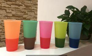 BPA libre! 24oz cambio de color de plástico de la taza de bebida taza de jugo con labio y la magia de paja taza de café Costom Logo A03