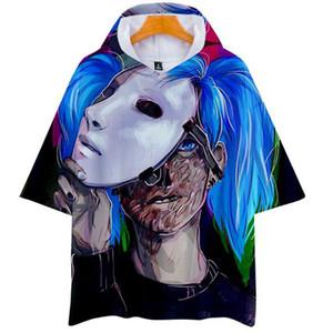 Venta al por mayor Sally cara 3D de ancho completo estampado Harajuku hip hop hombres y mujeres con capucha de manga corta camiseta amantes de la camisa de alta calidad
