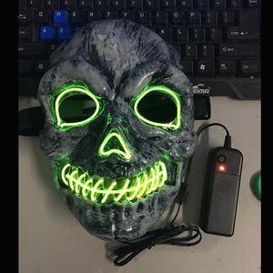 Drôle Led Party Mask Cosplay Holiday Dance Fashion clignotant Neon Light El Fil Glowing Fantôme Masque crâne